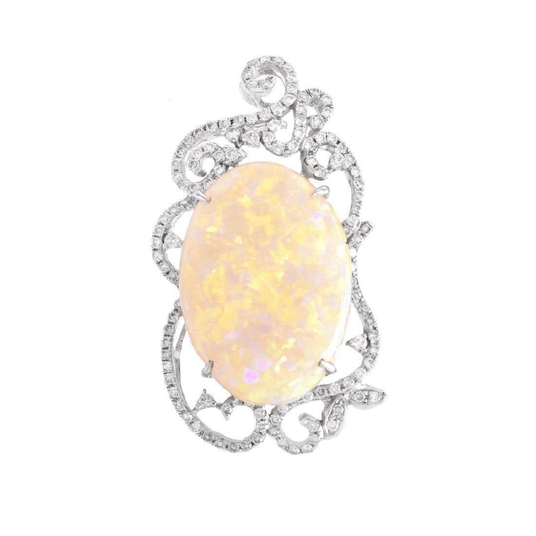 Opal, Diamond and 18K Gold Pendant