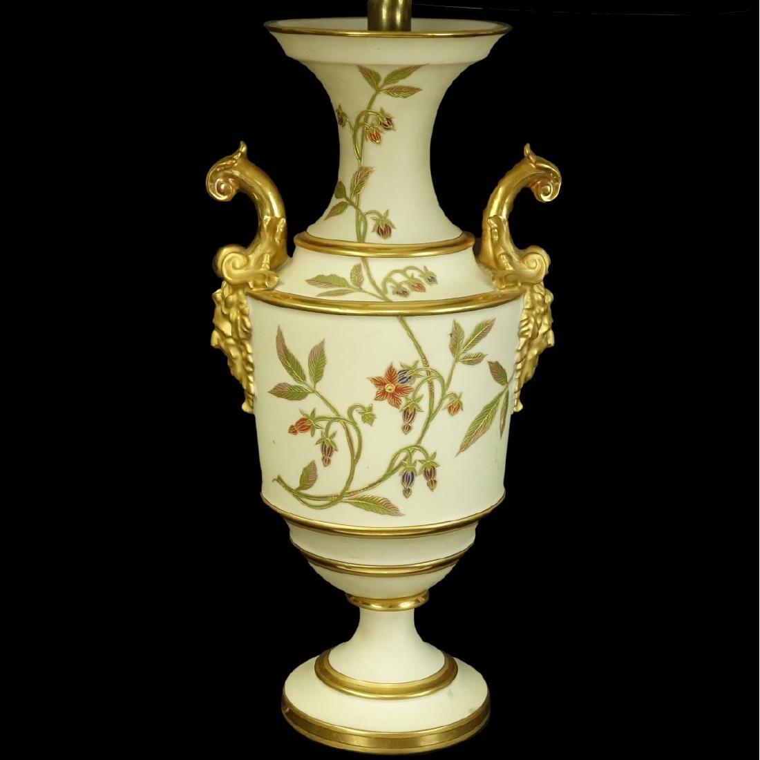 Royal Worcester style Porcelain Urn Lamp