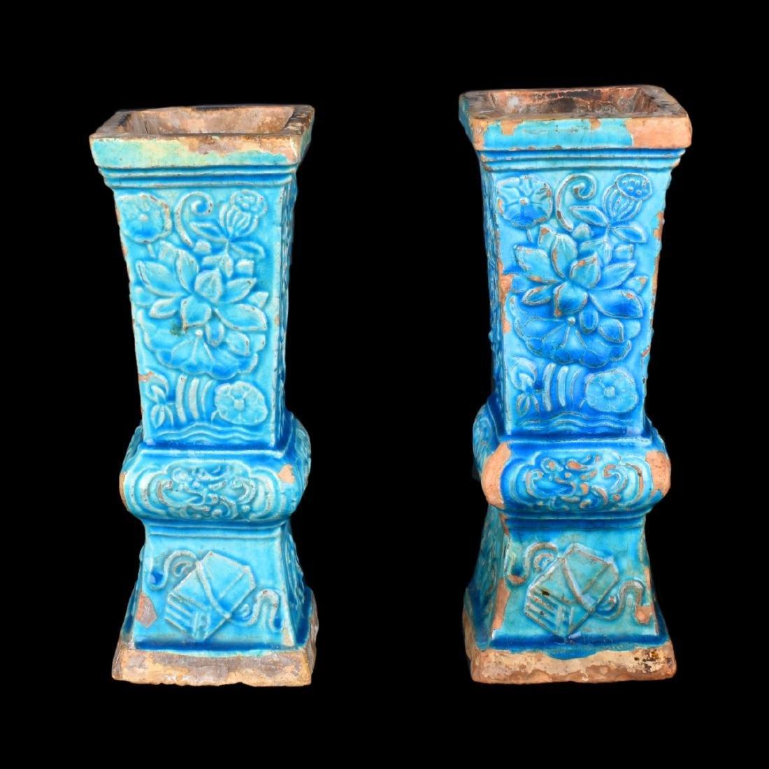 Pair Chinese Turquoise Glazed Vases