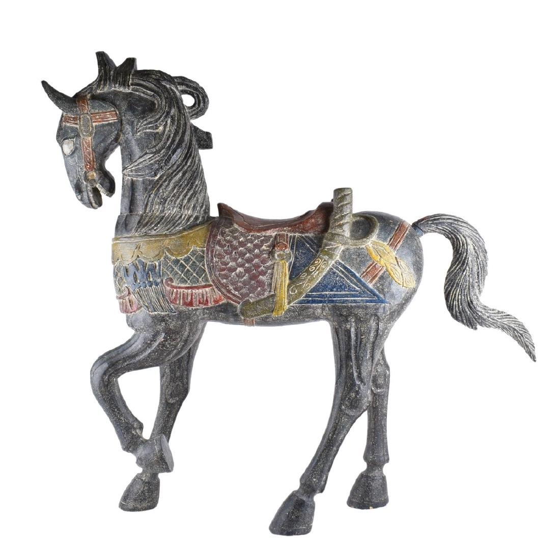 Chinese Polychrome Wood Carved Horse