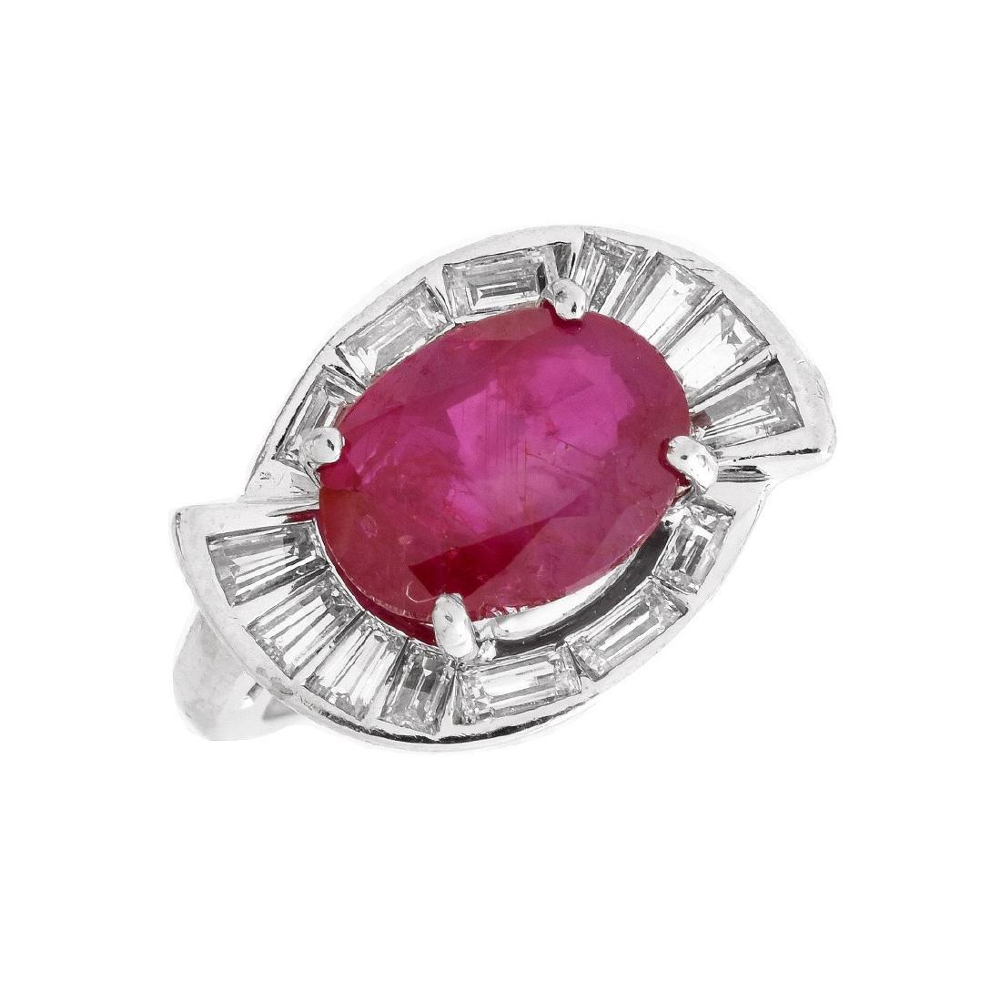 AGL 2.98ct Burma Ruby Ring
