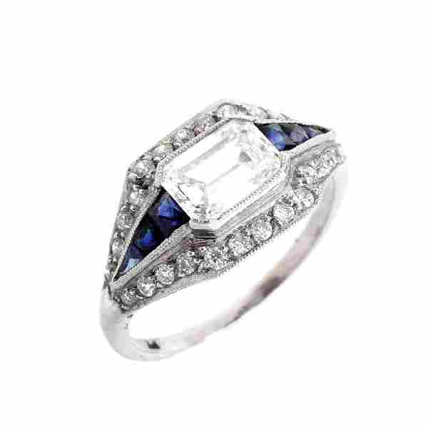 Art Deco Diamond, Sapphire and Platinum Ring
