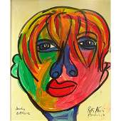 Peter Keil b 1942  AcrylicCanvas Andy Warhol