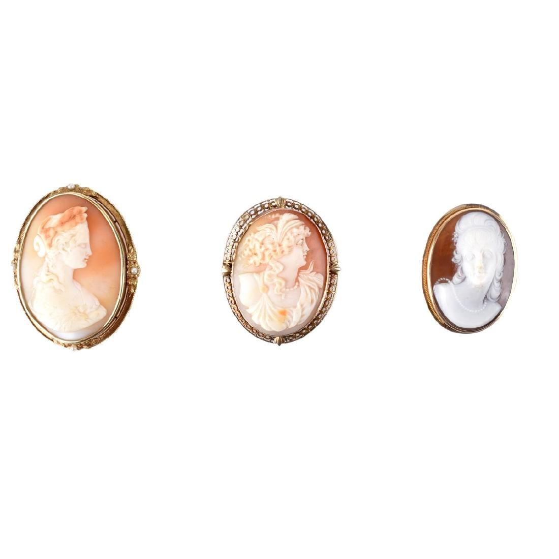 Three Antique Cameo Brooches