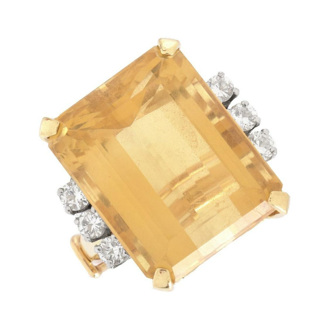 Vintage Citrine, Diamond and 14K Ring