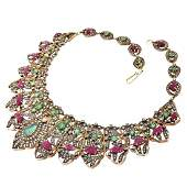 Mughal style Diamond Emerald and Ruby Necklace