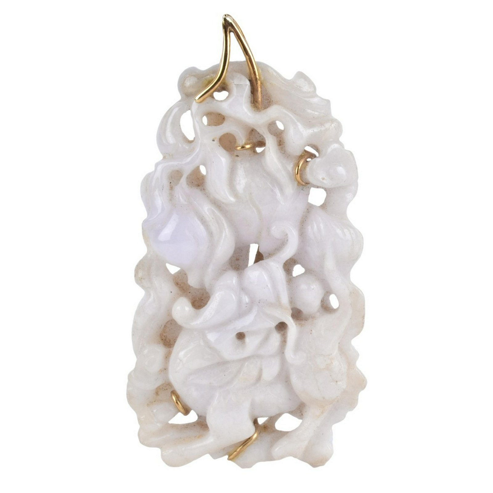 Chinese Carved White Jade and 14K Pendant