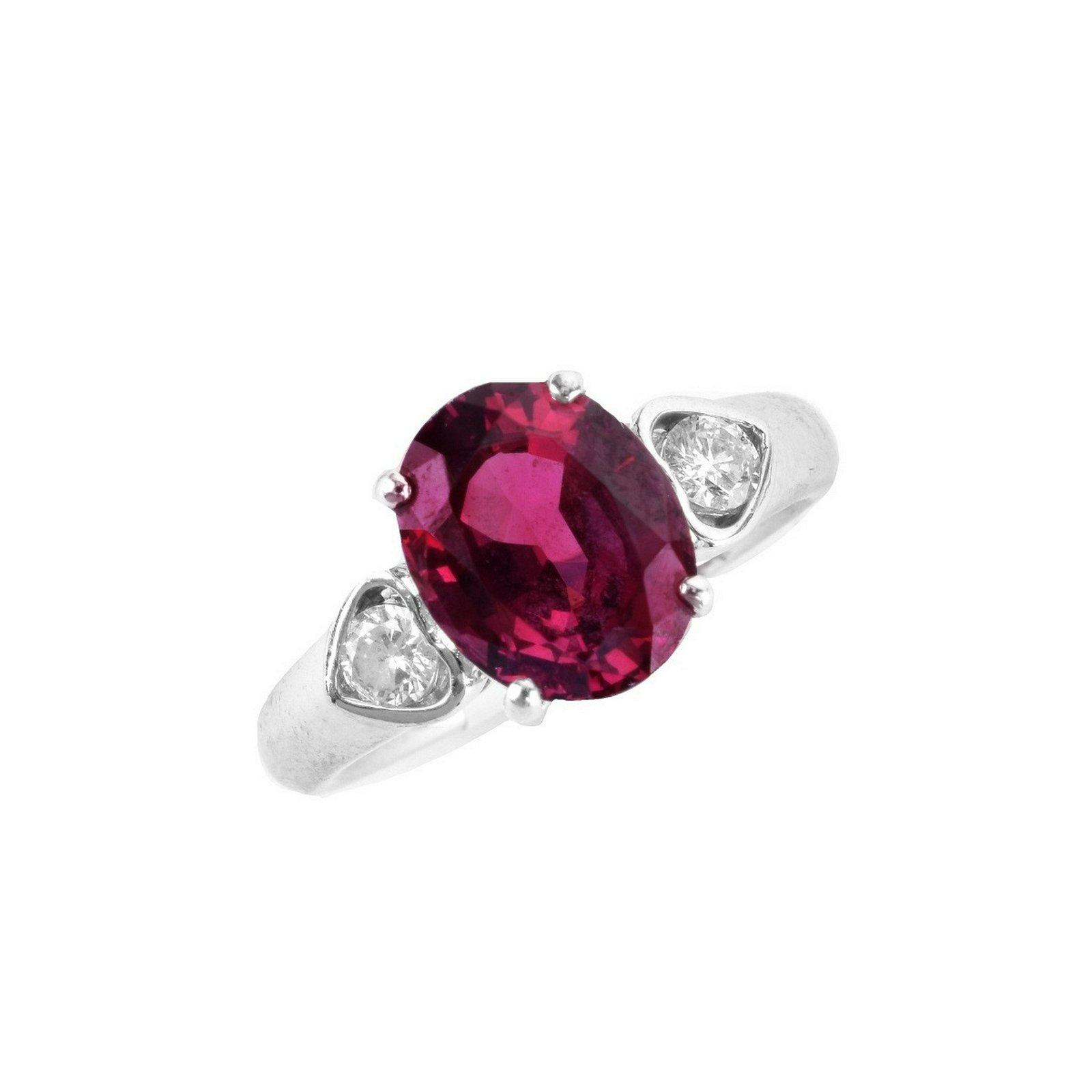 Garnet, Diamond and Platinum Ring