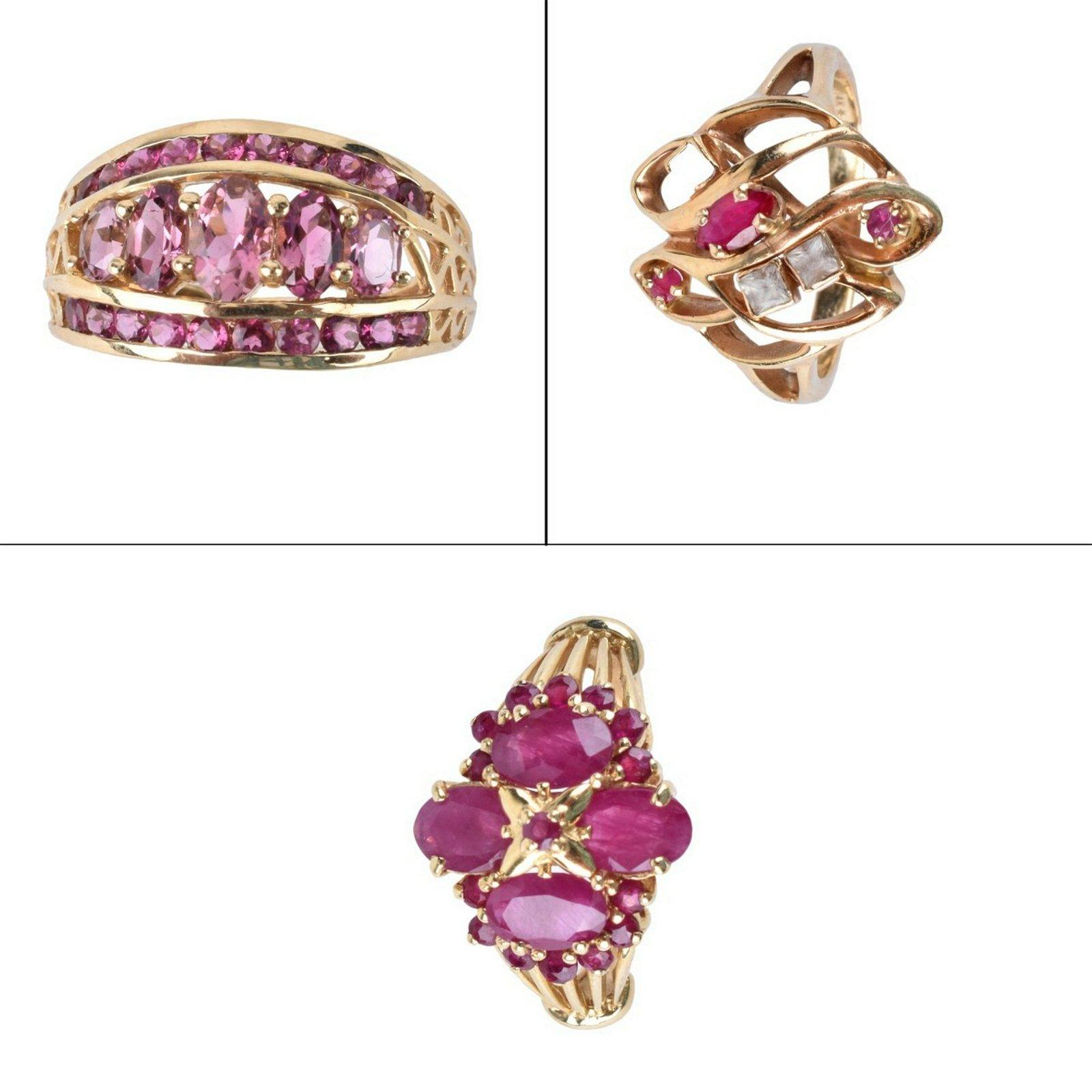 Three Vintage 14K and Gemstone Rings