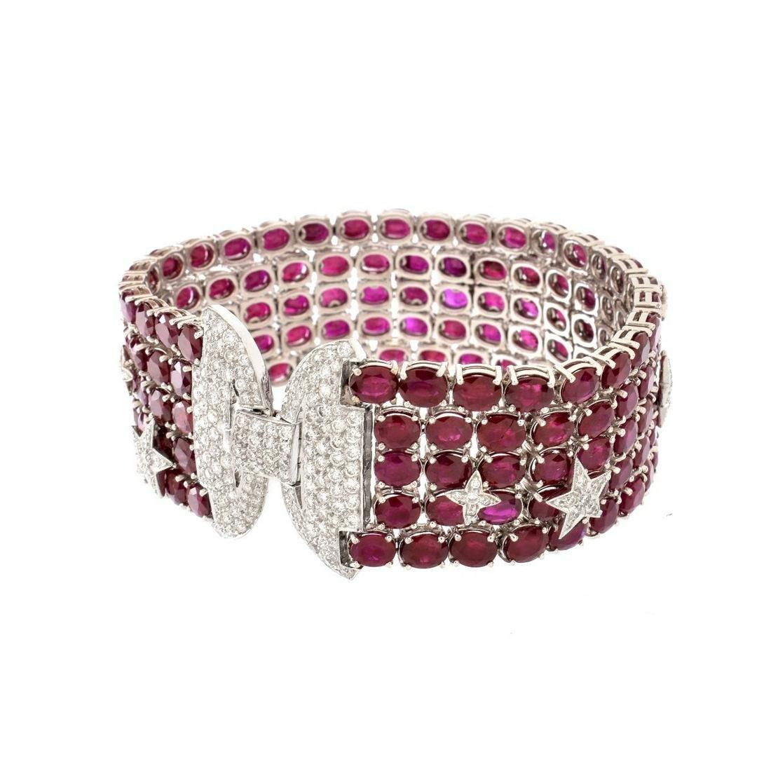 Burma Ruby, Diamond and 18K Bracelet