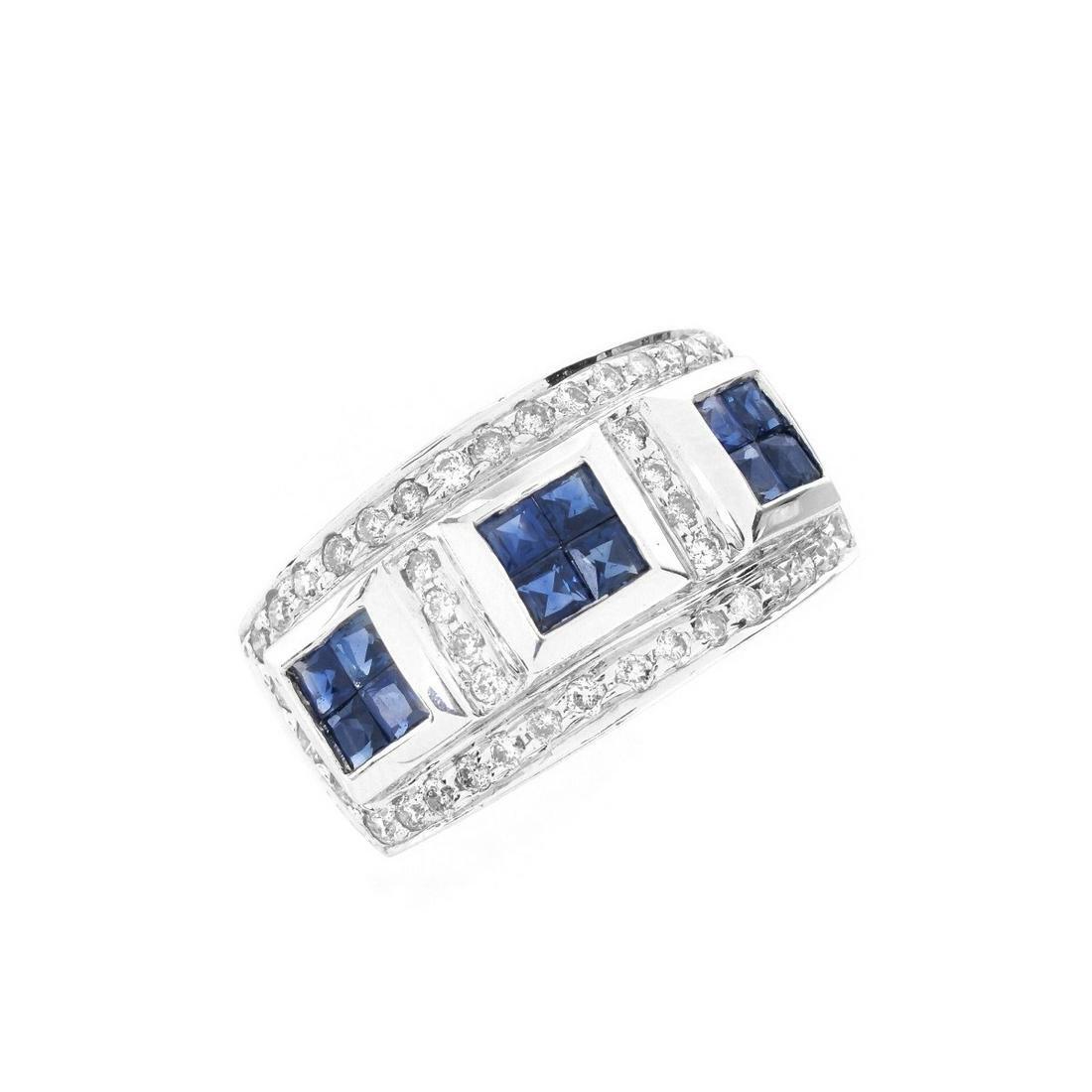 Sapphire, Diamond and 14K Ring