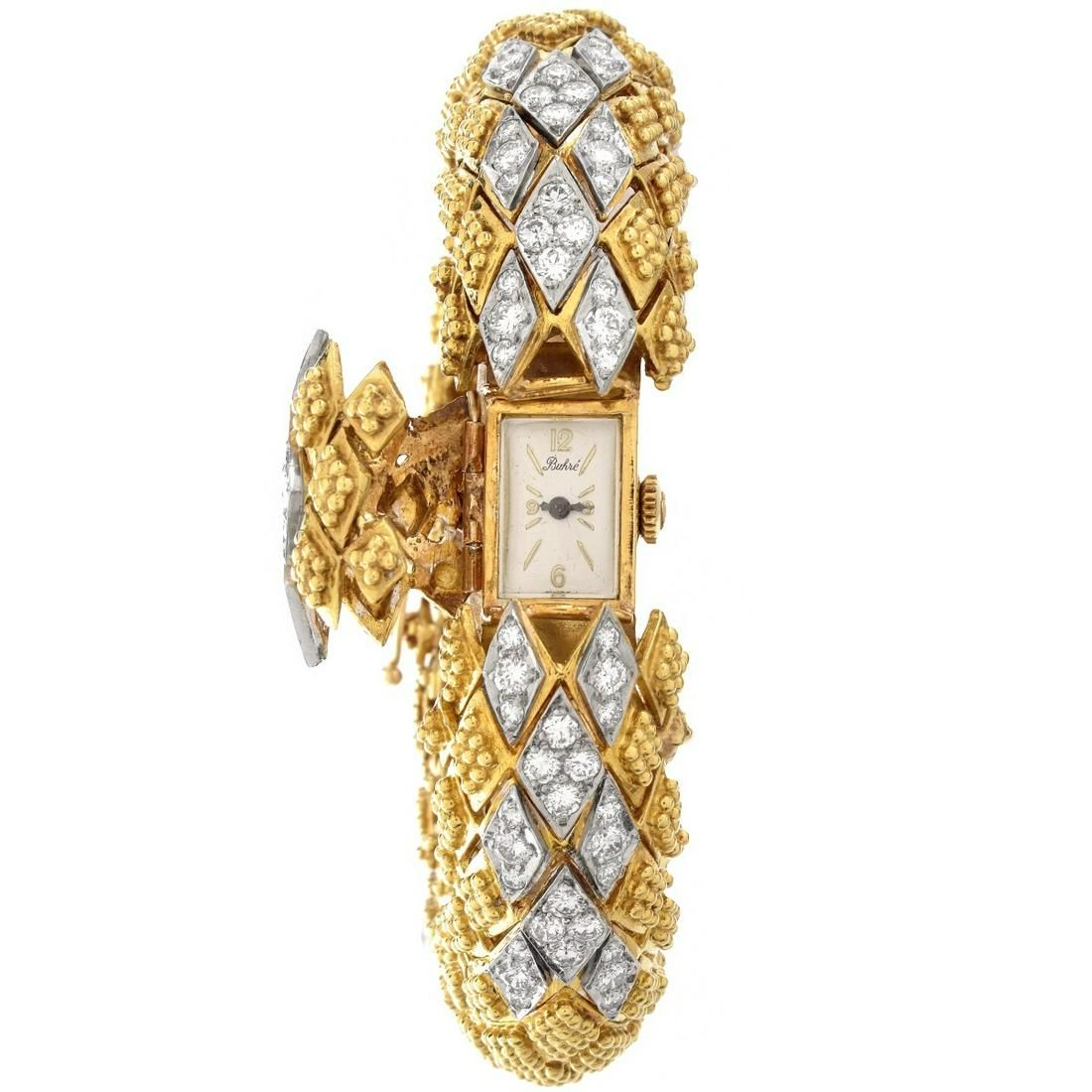 Vintage Buhre Diamond and 18K Watch