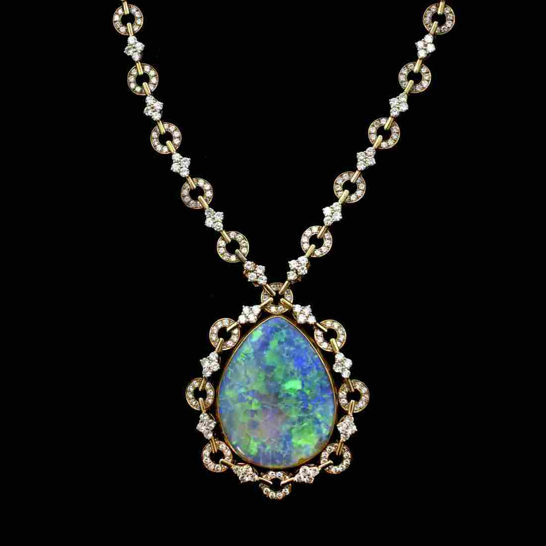 Stunning Black Opal, Diamond and 18K Necklace