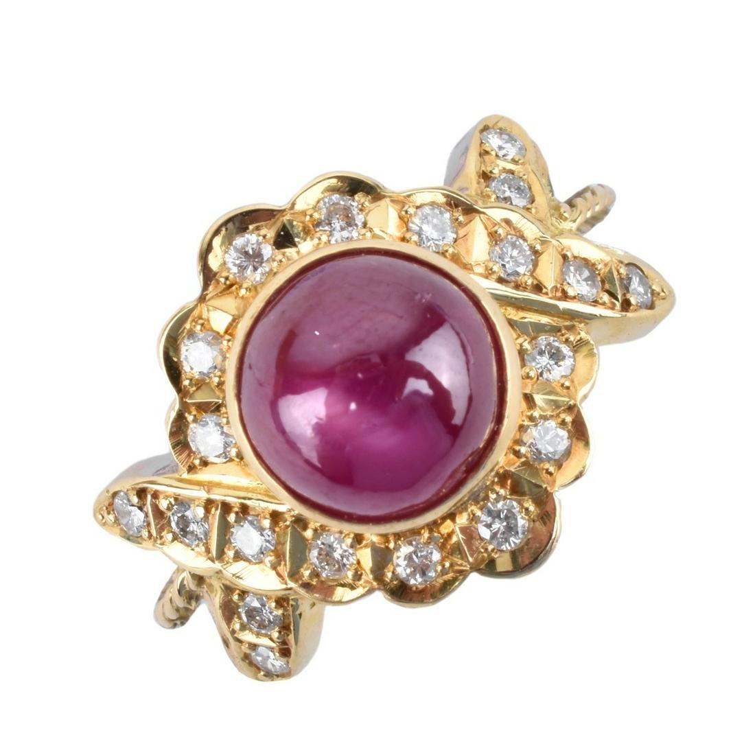 Ruby, Diamond, 18K and Platinum Ring
