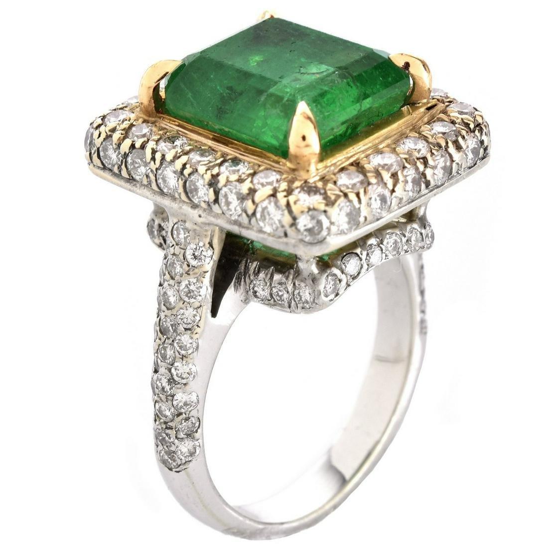 GIA 5.32ct Emerald, Diamond and 14K Ring