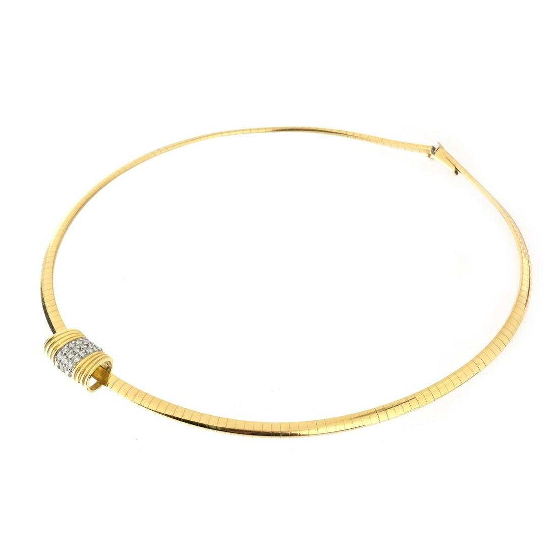14K and Diamond Omega Necklace