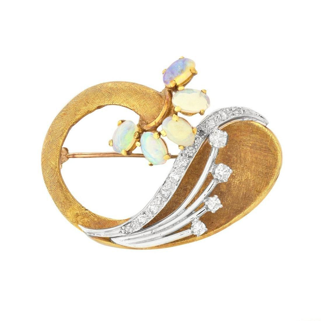 Vintage Diamond, Opal and 18K Brooch