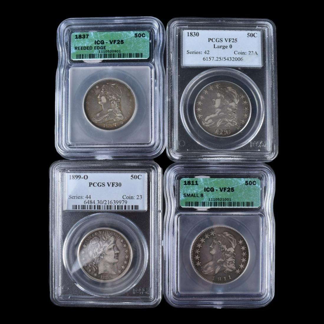 Four (4) Circa 1811 - 1899 U.S. Half Dollars