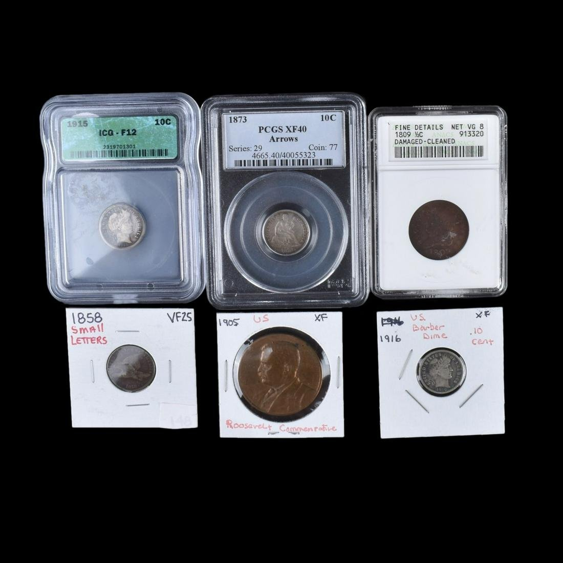 Six (6) Antique and Vintage Coins