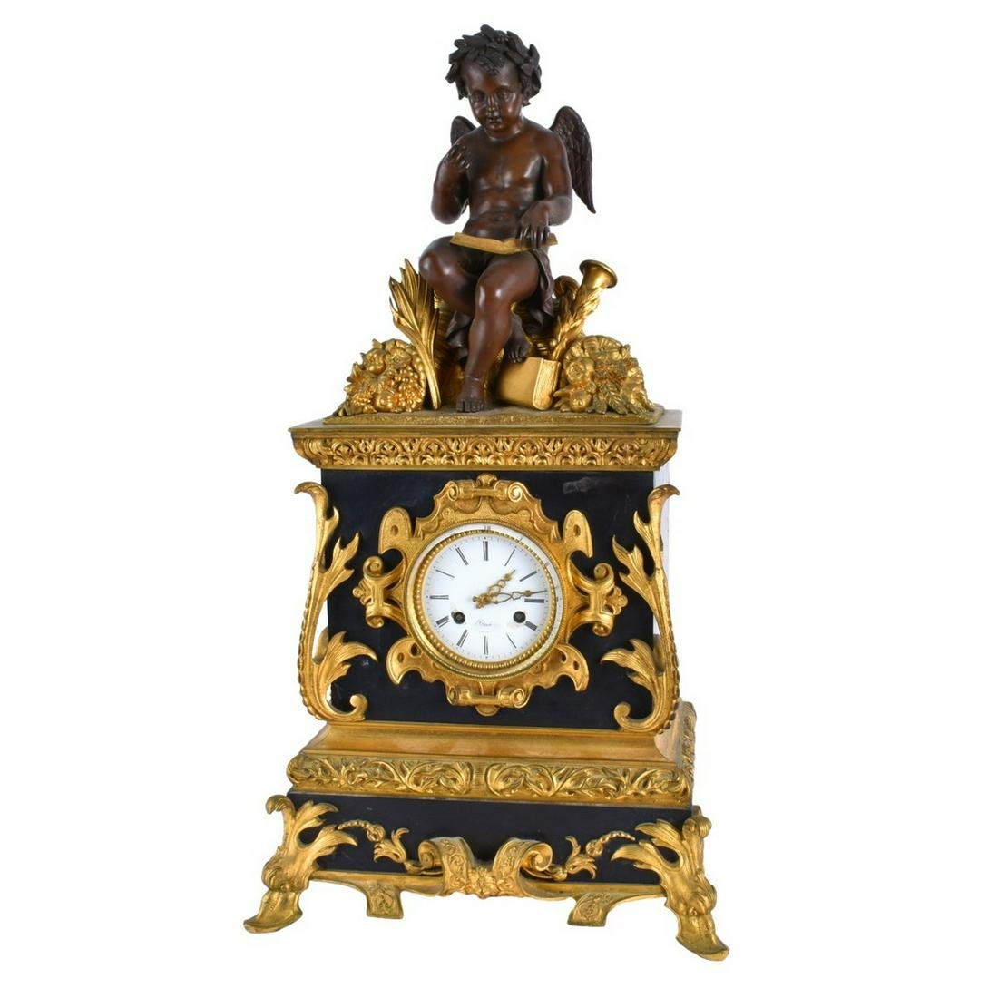 Antique French Bronze Mantle Clock