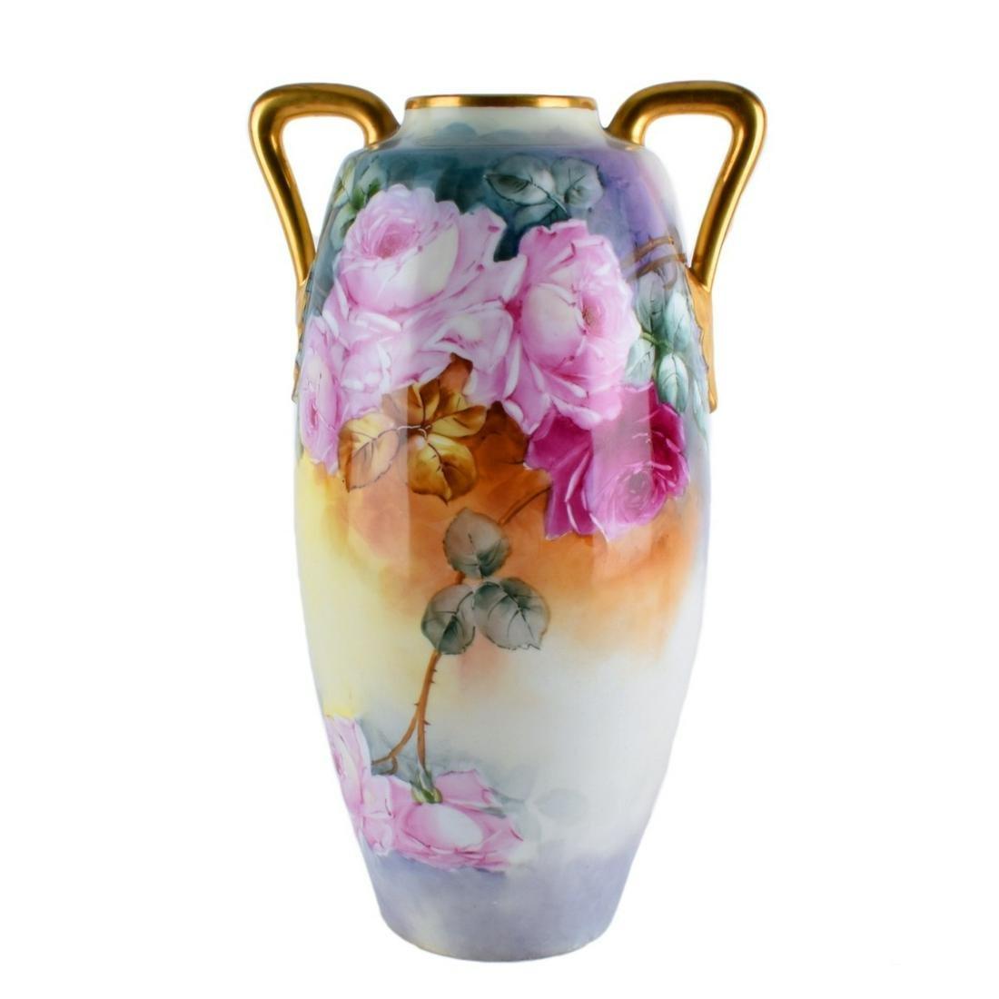 Antique Austrian Gilded Porcelain Handled Vase