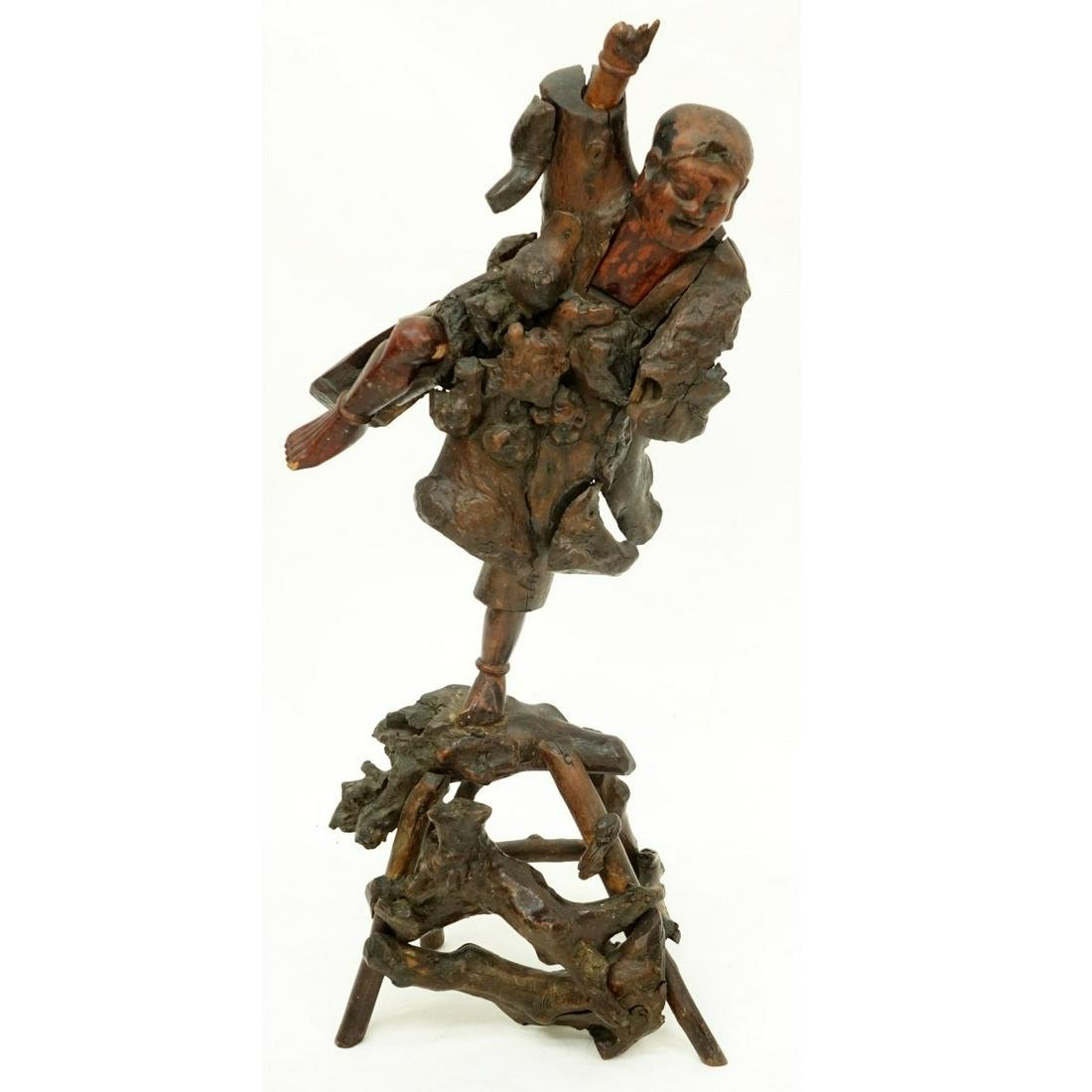 19th C. Chinese Carved Rootwood Figural Sculpture