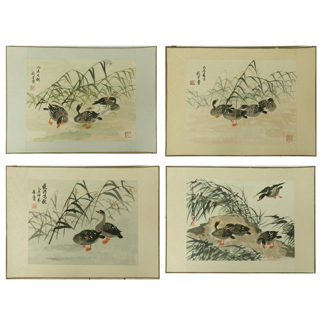 Four (4) Chinese Watercolor Scroll Paintings