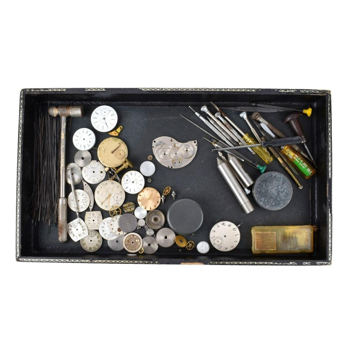 Collection of Watch Parts and Tools