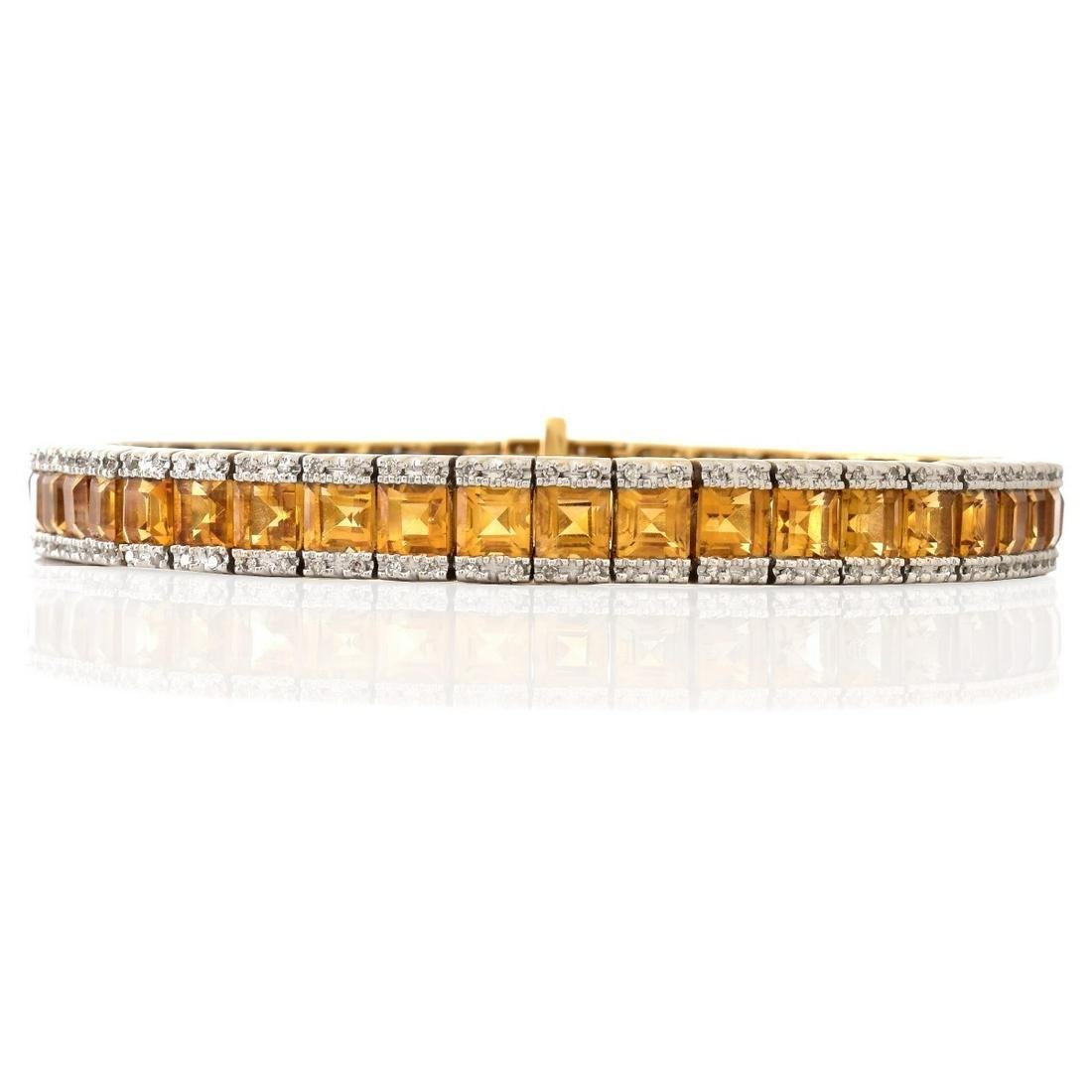 Citrine, Diamond and 14K Gold Line Bracelet