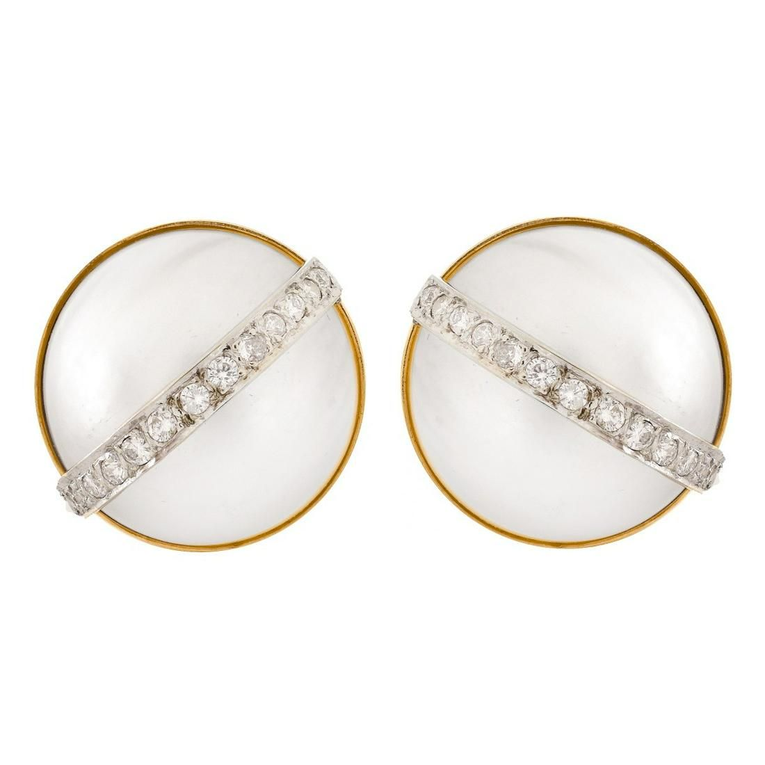 Mabe Pearl, Diamond and 14K Gold Earrings