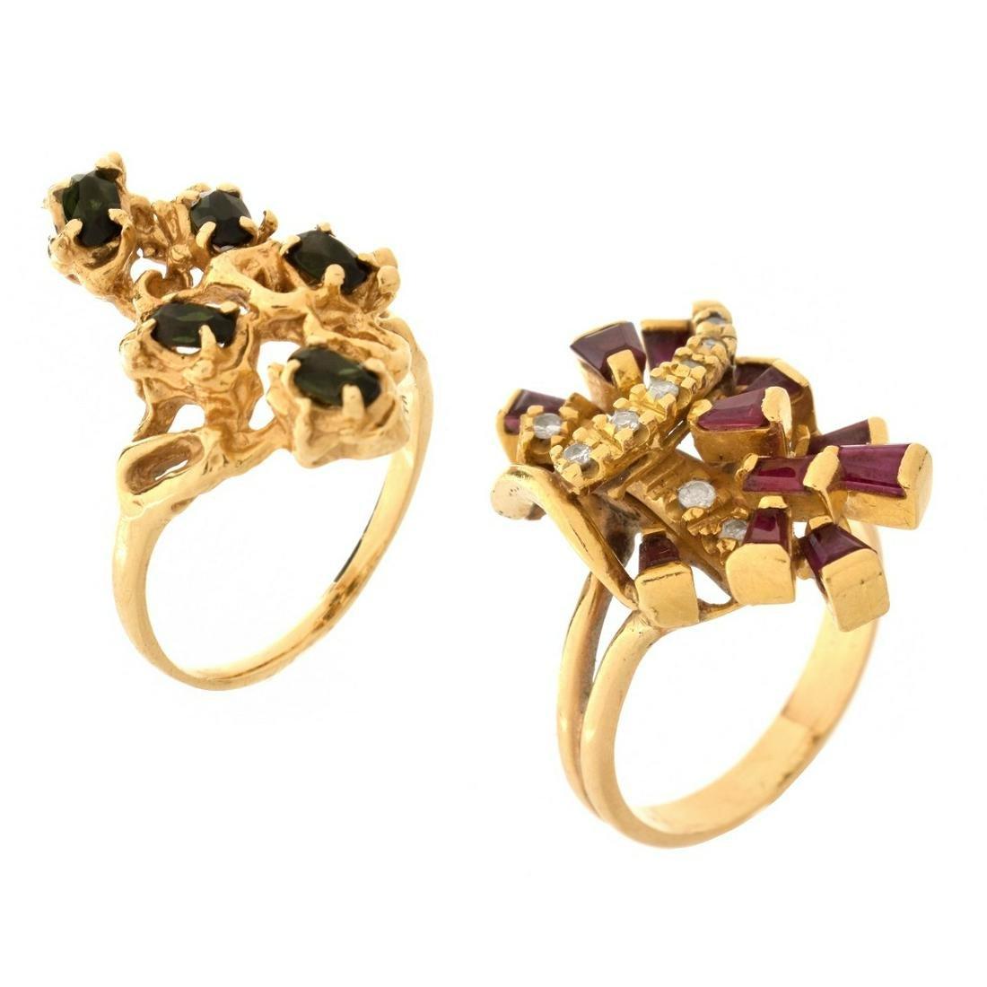 Two Vintage 14K and Gemstone Rings