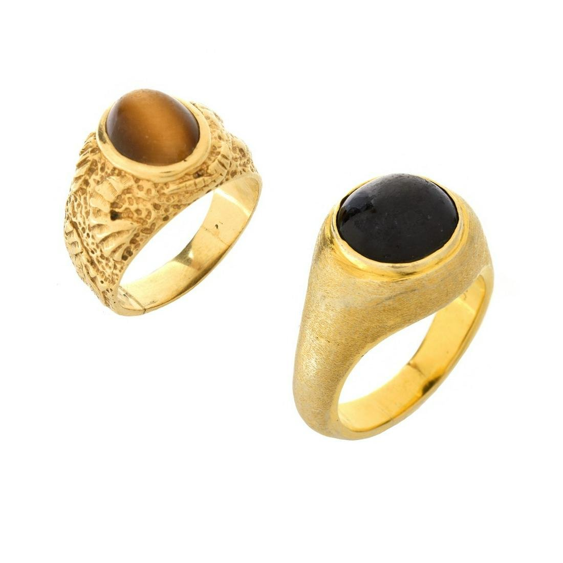 Two Men's 14K and Gemstone Rings
