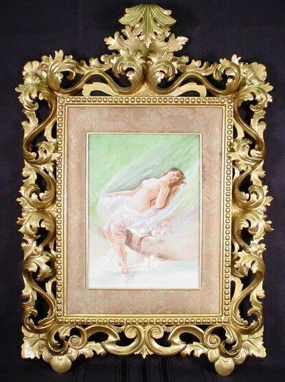 """4: Fine Antique KPM Style Limoges Porcelain Plaque of """""""