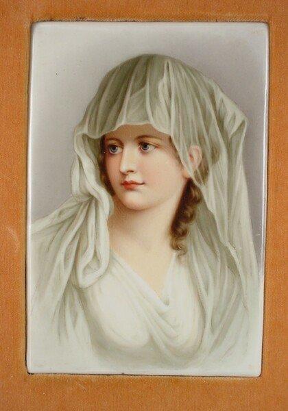 """5: 19C German KPM Style Porcelain Plaque """"Young Beauty"""""""