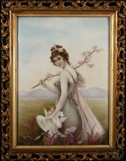 """8: Antique Porcelain Plaque """"Young Nymph with Cupid"""" Ar"""