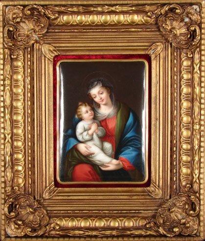 """10: Antique KPM Style Porcelain Plaque """"Madonna & Child"""