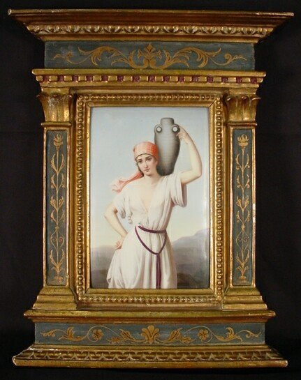 """11: 19C KPM Porcelain Plaque """"Rebecca at the Well"""" Sign"""