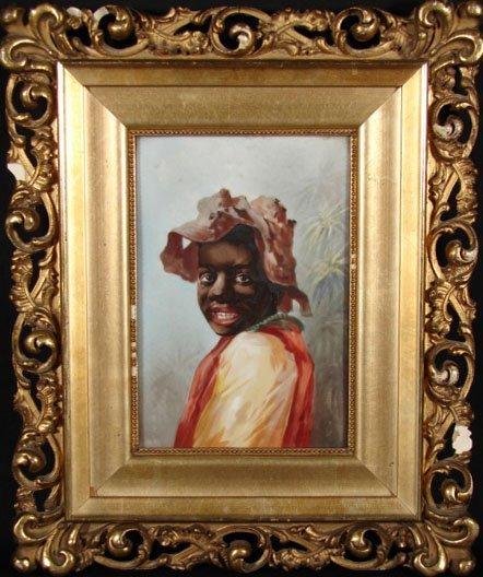 """12: Fine Antique Porcelain Plaque """"Young Negro Boy in S"""