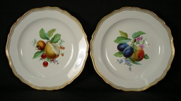 15: Hand Painted Meissen Porcelain Fruit Plates with Gi
