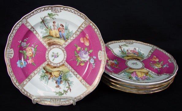 16: 19C Meissen Porcelain Dessert Plates. Blue Undergla