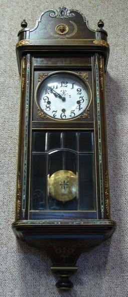 19: 20C French Wooden Art Deco Clock w/ Leaded Glass Be