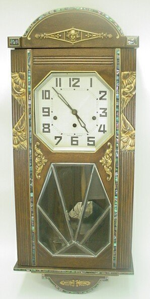 20: 20C French Wooden Art Deco Clock w/ Leaded Glass Be