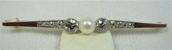88 Edwardian DiamondPearl Bar Pin Set in Platinum Ove