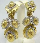 171A Pair Cartier 18kt Gold Diamond Drop Earrings 96 D
