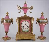 179: French 3pc Miniature Bronze Porcelain Clock Garnit