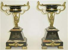 193 Pair of 19C Eygptian Revival Gilt Bronze Marble Co