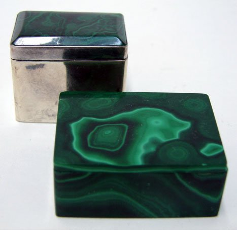 518: Two (2) Malachite Boxes. One (1) Sterling and Mala