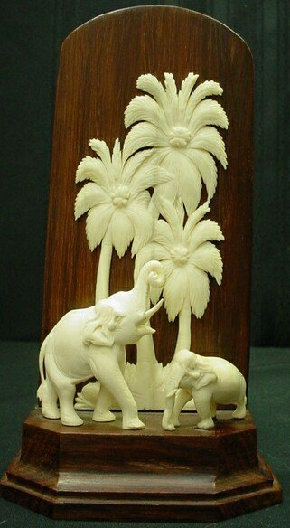 "524: Antique Asian Carved Ivory Figure ""Elephants and P"