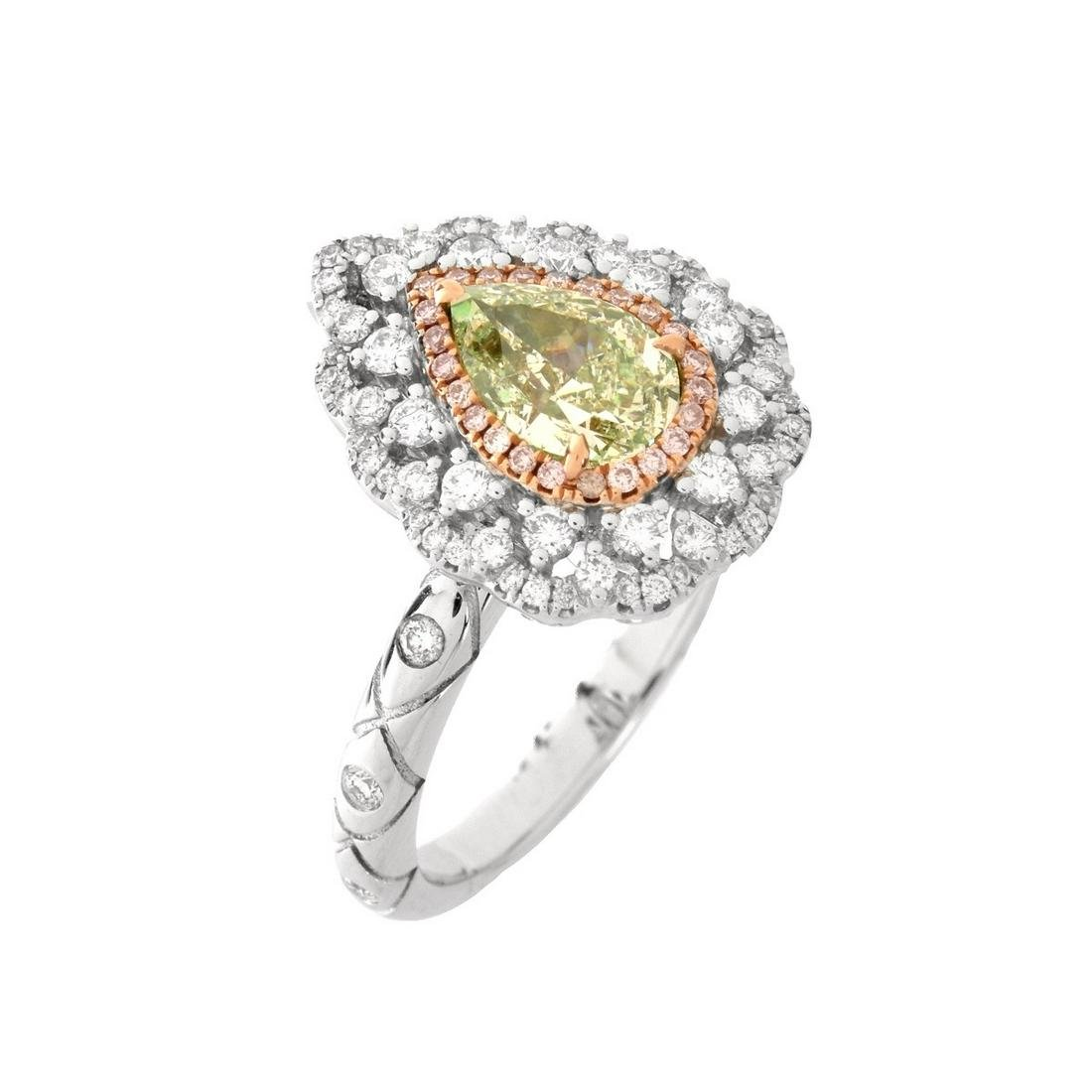 AGL Green Diamond and 18K Ring