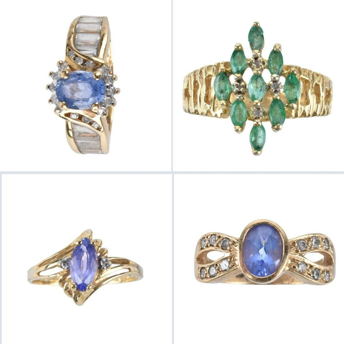 Four Vintage Gold and Gemstone Rings